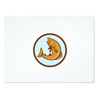 Brown Trout Jumping Circle Cartoon 6.5x8.75 Paper Invitation Card