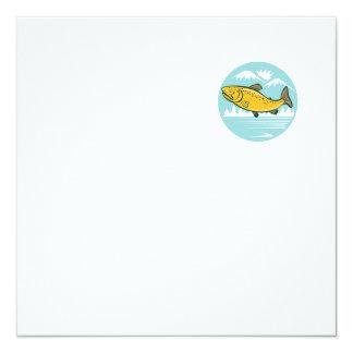 Brown Trout Jumping Circle Cartoon 5.25x5.25 Square Paper Invitation Card