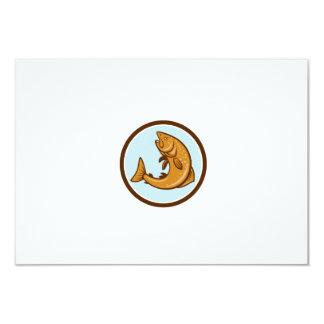 Brown Trout Jumping Circle Cartoon 3.5x5 Paper Invitation Card
