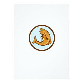 Brown Trout Jumping Circle Cartoon 5.5x7.5 Paper Invitation Card
