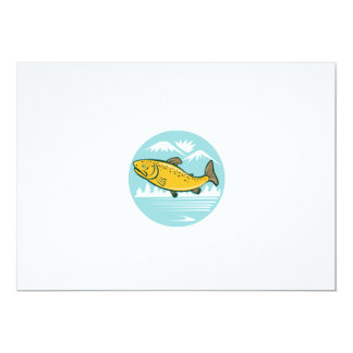 Brown Trout Jumping Circle Cartoon 5x7 Paper Invitation Card