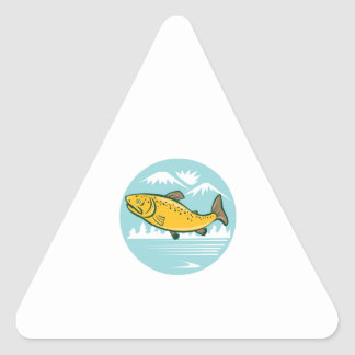 Brown Trout Jumping Circle Cartoon Triangle Sticker