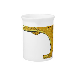 Brown Trout Jumping Drawing Pitcher