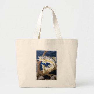 Brown Trout Large Tote Bag