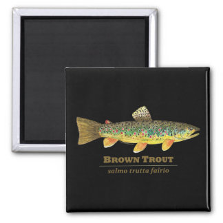 Brown Trout Latin Ichthyology 2 Inch Square Magnet
