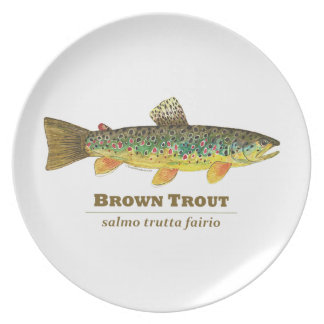Brown Trout Latin Ichthyology Melamine Plate