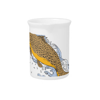 Brown Trout Swimming Up Turbulent Water Drawing Drink Pitcher
