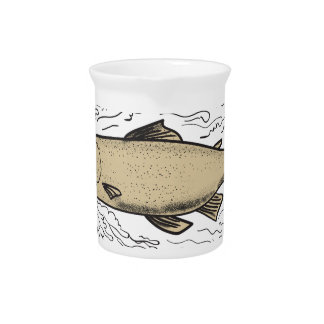 Brown Trout Waves Tattoo Pitcher
