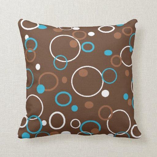 Brown Turquoise and White Circles Throw Pillow Zazzle