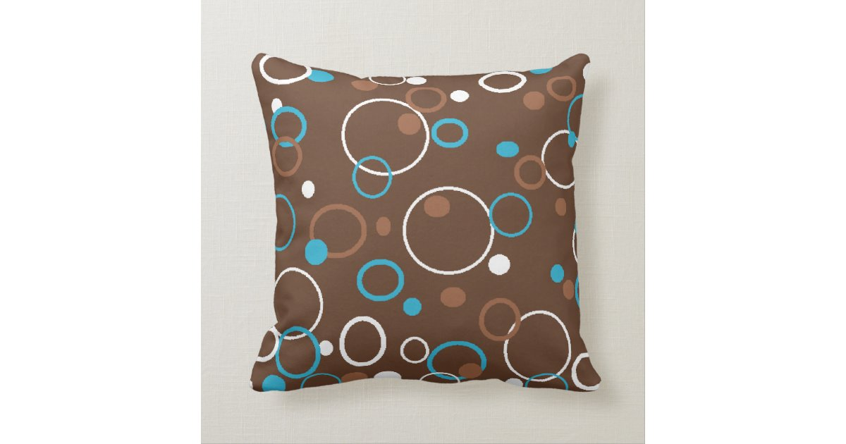 Brown Turquoise and White Circles Throw Pillow Zazzle.com