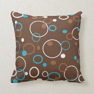 Brown Turquoise and White Circles Throw Pillow