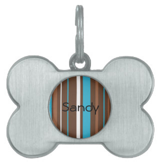 Brown Turquoise and White Stripes Pet ID Tag