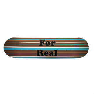 Brown Turquoise and White Stripes Custom Skate Board