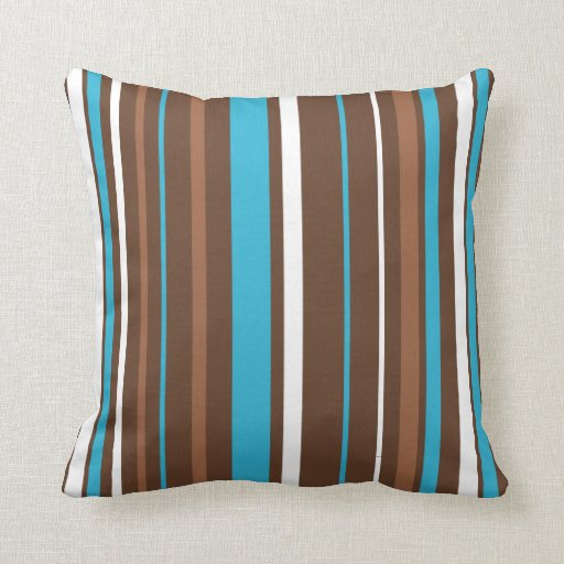 Brown Turquoise and White Stripes Throw Pillow Zazzle