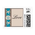 Brown Turquoise Band Starfish Love Postage Stamp