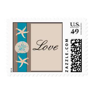 Brown Turquoise Band Starfish Love Postage Stamp