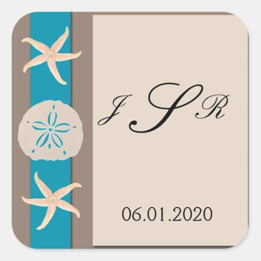 Brown Turquoise Band Starfish Monogram Sticker