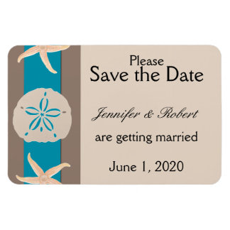 Brown Turquoise Band Starfish Save the Date Magnet