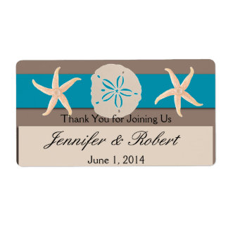Brown Turquoise Band Wedding Water Bottle Label