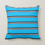 [ Thumbnail: Brown, Turquoise, Black, and Deep Sky Blue Colored Throw Pillow ]