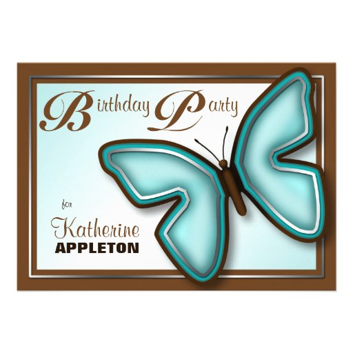 Brown Turquoise Butterfly Birthday Party Invites