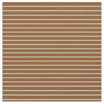 [ Thumbnail: Brown & Turquoise Colored Striped Pattern Fabric ]