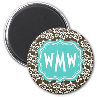 Brown Turquoise Floral Custom Monogram 2 Inch Round Magnet