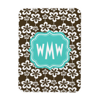 Brown Turquoise Floral Custom Monogram Rectangular Photo Magnet
