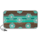 Brown & turquoise flowers & stripes iPod speakers