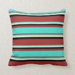 [ Thumbnail: Brown, Turquoise, Light Yellow, and Black Colored Throw Pillow ]