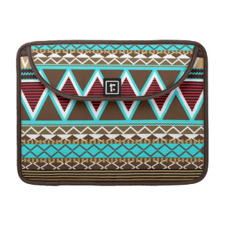 Brown & Turquoise Modern Tribal Macbook Pro Flap S Sleeves For MacBooks