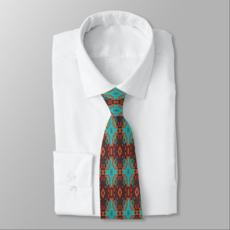 Brown Turquoise Orange Red Eclectic Ethnic Look Neck Tie