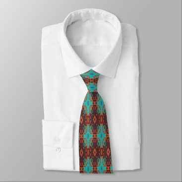 All_In_Cute_Fun Brown Turquoise Orange Red Eclectic Ethnic Look Neck Tie