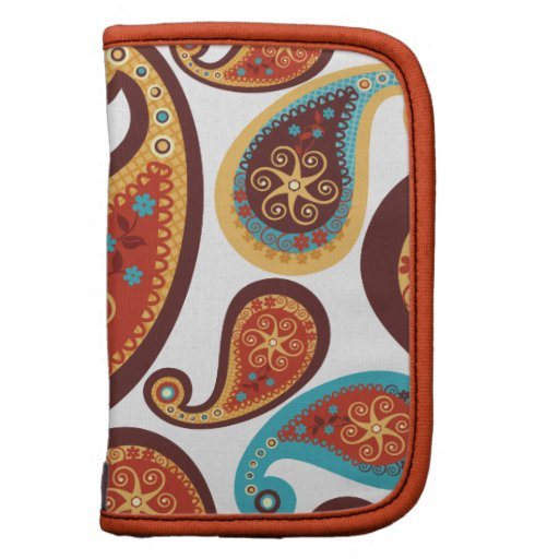 brown turquoise paisley pattern planner