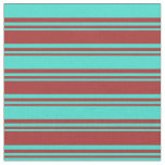 [ Thumbnail: Brown & Turquoise Pattern of Stripes Fabric ]
