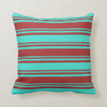 [ Thumbnail: Brown & Turquoise Pattern of Stripes Throw Pillow ]