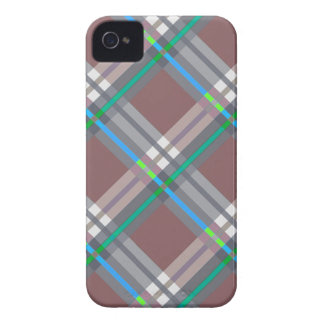 Brown Turquoise  Plaids, Checks, Tartans iPhone 4 Covers