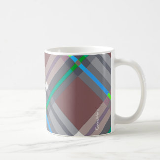 Brown Turquoise  Plaids, Checks, Tartans Coffee Mug