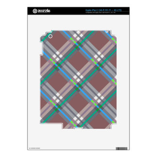 Brown Turquoise  Plaids, Checks, Tartans Decal For iPad 3