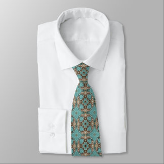 Brown Turquoise Teal Green Bali Batik Pattern Tie