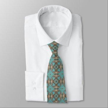 All_In_Cute_Fun Brown Turquoise Teal Green Bali Batik Pattern Tie