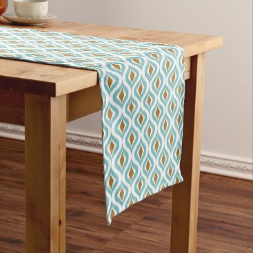CozyLivin Brown Turquoise Teal Retro Chic Ikat Drops Pattern Short Table Runner