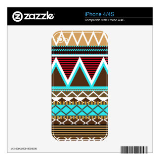Brown & Turquoise Tribal iPhone 4/4S Skin Decal For The iPhone 4S