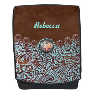 brown turquoise western country tooled leather backpack