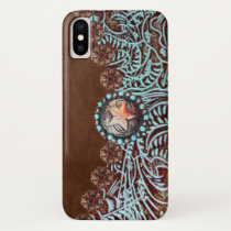 brown turquoise western country tooled leather iPhone x case