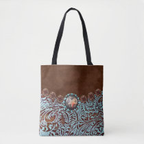 brown turquoise western country tooled leather tote bag