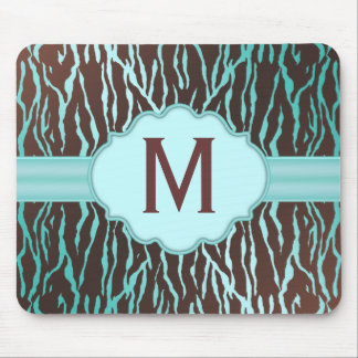 Brown & Turquoise Zebra Stripes Monogram Mousepad