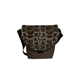 Brown Turtle Shell Pattern Messenger Bags