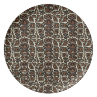 Brown Turtle Shell Pattern Plates