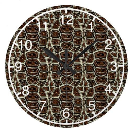 Brown Turtle Shell Pattern Wallclocks